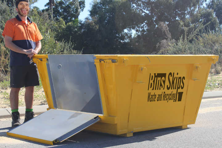 Quakers Hill Skip Bins can be delivered with drop down doors or ramps