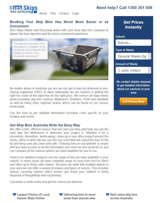Bins Skips Waste and Recycling Home Pages and How to Hire Skip Bins