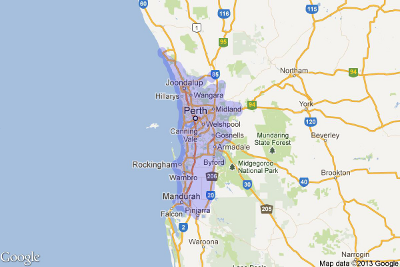 Map of Perth Service Area