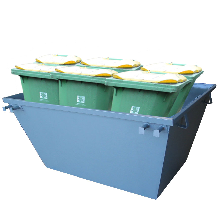 Six 320 litre wheelie bins is about 2 cubic meters