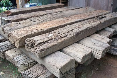 Wooden Railways Sleepers - Example Stacked Timber