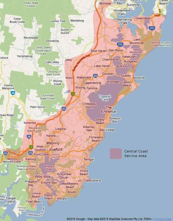 Central Coast Skip Bins and Skip Hire Area