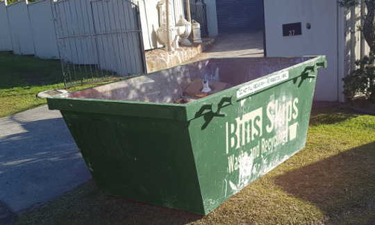 Fairfield Skip Bin on verge in Bonnyrigg