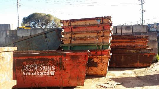 Old Skip Bins at Ballarat depot