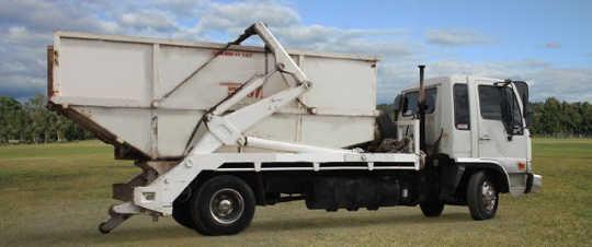 Launceston Skip bin truck with 10m skip bin onboard