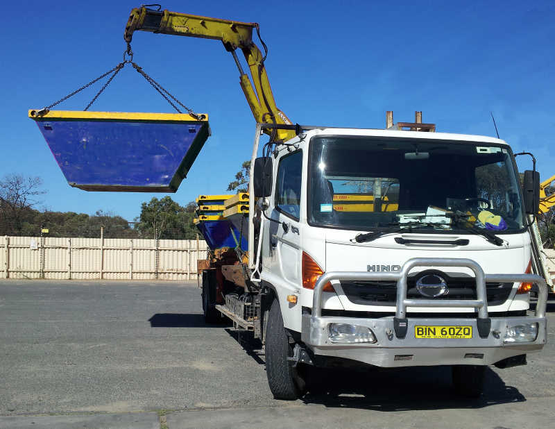 One of Blacktown's Hiab Trucks for delivering Skip Bins to difficult locations