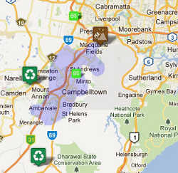 Campbelltown Waste facilities around the Skip Bins service area for depot